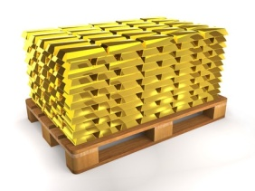 53755484 - golden shiny ingots on a wooden pallet on white background.